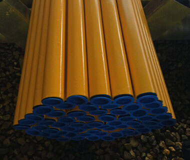 57m Yellow Painted ERW Welded Steel Pipe in China